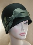 Wool Felt Hand Blocked Cloche with Petersham Ribbon
