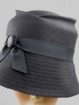 Wool Felt Hand Blocked Hat with Silk Covered Button