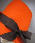 Orange Wool Felt Hat Close Up