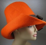 Orange Wool Felt Hat side view